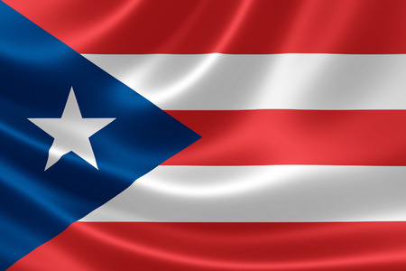 unincorporated: 3D rendering of a satin-textured flag of Puerto Rico, an unincorporated United States territory located in the northeastern Caribbean Sea.