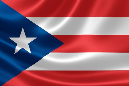 Representación 3D de una bandera de textura satinada de Puerto Rico, un territorio no incorporado de Estados Unidos situado en el noreste del Mar Caribe. Foto de archivo - 60176792