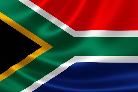 south african flag: 3D rendering of the flag of South Africa on satin texture.