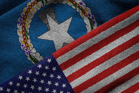 us territory: 3D rendering of the flags of USA and Northern Mariana Islands on woven fabric texture. Northern Mariana Islands is a U.S. territory. Detailed textile pattern and grunge theme.