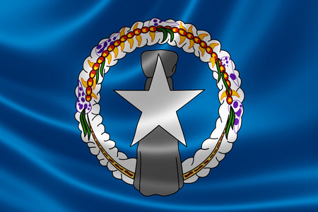 3D rendering of a satin-textured flag of Northern Mariana Islands, a United States territory located in the northwestern Pacific Ocean.