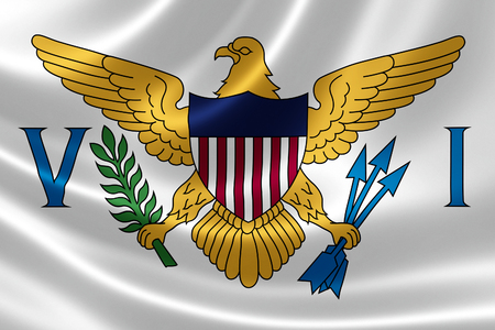 insular: 3D rendering of a satin-textured flag of the U.S. Virgin Islands, a group of islands in the Caribbean that are an insular area of the United States.
