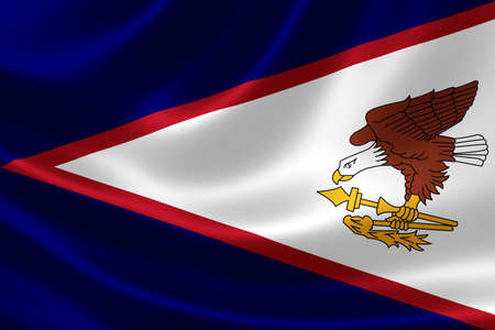 south pacific ocean: 3D rendering of a satin-textured flag of American Samoa, an unincorporated United States territory located in the South Pacific Ocean, southeast of Samoa. Stock Photo