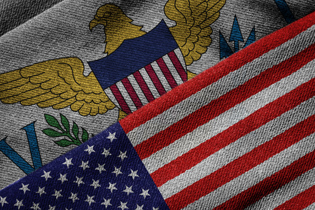 us territory: 3D rendering of the flags of USA and United States Virgin Islands on woven fabric texture. US Virgin Islands is a U.S. territory. Detailed textile pattern and grunge theme.
