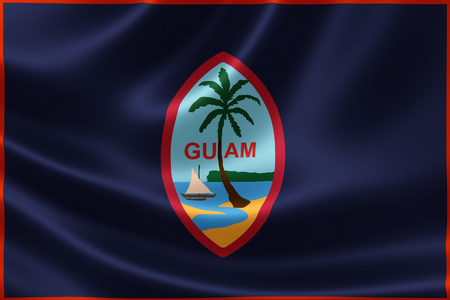 unincorporated: 3D rendering of a satin-textured flag of Guam, an unincorporated and organized territory of the United States located in the northwestern Pacific Ocean.