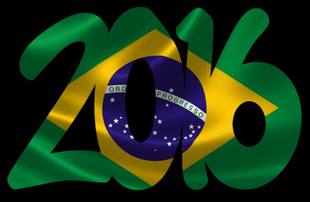 brazilian flag: 3D rendering of the Brazilian flag in satin texture under the text 2016. Stock Photo