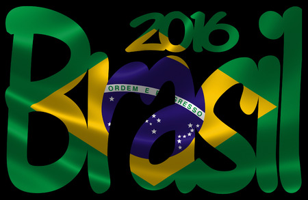 brazilian flag: 3D rendering of the Brazilian flag in satin texture under the text Brasil 2016. Stock Photo