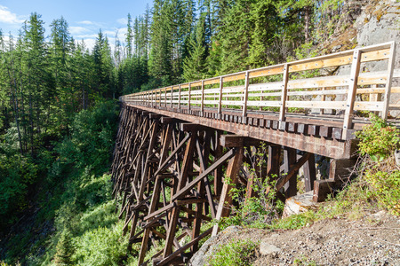 wood railroads: Originally one of 19 wooden railway trestles built in the early 1900s in Myra Canyon, BC, the place is now a public park with biking and hiking trails.