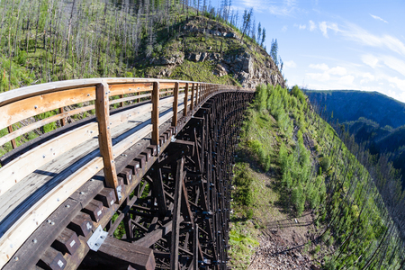 provincial forest parks: Originally one of 19 wooden railway trestles built in the early 1900s in Myra Canyon, BC, the place is now a public park with biking and hiking trails.