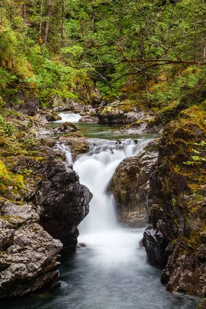 vancouver island: Little Qualicum Falls (lower falls) near Qualicum Beach and Parksville on Vancouver Island, British Columbia, Canada. Stock Photo