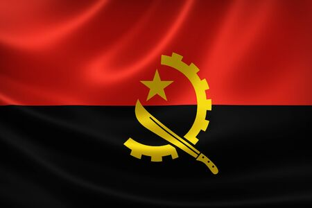 3D rendering of the flag of Angola on satin texture.