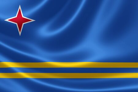 constituent: 3D rendering of the flag of Aruba on satin texture. Aruba is a constituent country of the Kingdom of the Netherlands in the southern Caribbean Sea