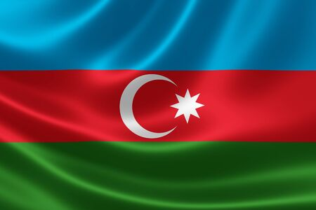 southwest: Close up of the flag of Azerbaijan on silky fabric. Azerbaijan is located at the crossroads of Southwest Asia and Southeastern Europe.
