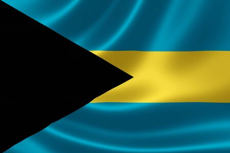 3D rendering of the flag of The Bahamas on satin texture. The Bahamas is an archipelagic state of the Lucayan Archipelago consisting of more than 700 islands, cays, and islets in the Atlantic Ocean.