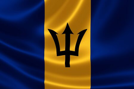 3D rendering of the flag of Barbados on satin texture. Barbados is a sovereign island country in the Lesser Antilles, in the Americas. Stock Photo