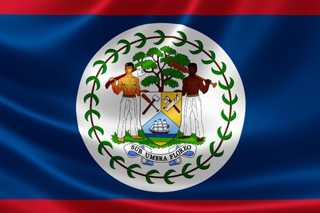 caribbean sea: 3D rendering of the flag of Belize on satin texture. Belize is a country on the eastern coast of Central America by the Caribbean Sea.