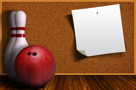 Bowling ball and pins on a background cork board with pinned paper and copy space.