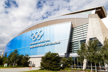 configured: VANCOUVER - JULY 10: The Richmond Olympic Oval in the city of Richmond, BC, July 10, 2016. It was built for the 2010 Winter Olympics and was originally configured with an speed skating rink. It has since been reconfigured and now serves as a community mul