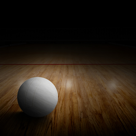 competitive sport: Volleyball on court with special spot lighting effect and copy space. Stock Photo