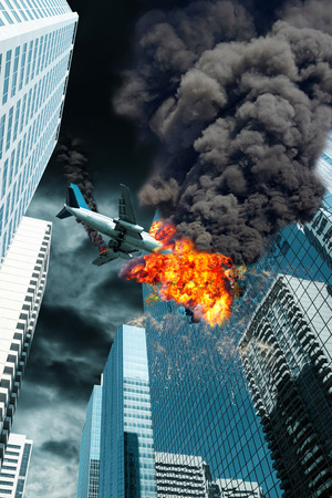 A cinematic portrayal of an airplane disaster as it crashes a downtown building. Concept of accident, end times or act of terrorism.