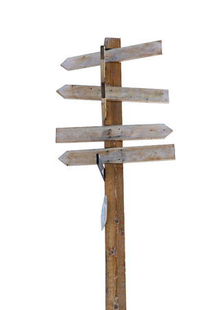 Old wooden arrow signpost against a white background with copy space. Idea of crossroads and concept of being lost, confused or indecisiveness. Vertical orientation.