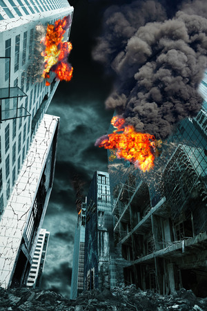 bombing: Detailed destruction of fictitious city with fires and explosion. Concept of war, natural disasters, judgement day, fire, nuclear accident or terrorism. Vertical orientation. Stock Photo
