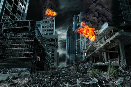 Gedetailleerde vernietiging van fictieve stad met branden, explosies, puin en ineenstortende structuren. Concept van oorlog, natuurrampen, oordeelsdag, vuur, kernongeluk of terrorisme.