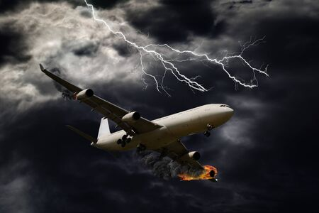 explosion engine: Cinematic portrayal of a fictitious plane flying under stormy and thunderous conditions with its engines on fire.