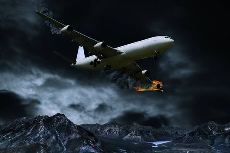 explosion engine: Cinematic portrayal of a fictitious plane in distress flying over mountainous regions with its engines on fire.