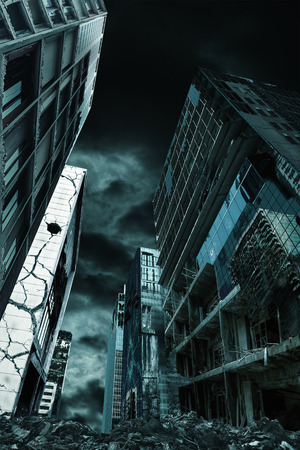 fallout: Detailed destruction of fictitious desolate city with demolition and rubble. Concept of war, natural disasters, judgement day, fire, nuclear accident or terrorism. Vertical orientation. Stock Photo