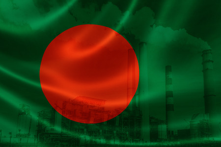3D rendering of Bangladeshs flag on silky satin and double exposure of factory smoke stacks in the background, signifying the serious industry pollution problem in Bangladesh. Bangladesh is one of the most polluting countries in the world. Stock Photo