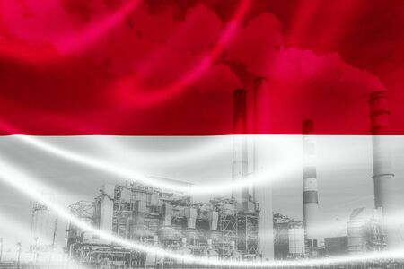 3D rendering of Indonesias flag on silky satin and double exposure of factory smoke stacks in the background, signifying the serious industry pollution problem in Indonesia. Indonesia is one of the most polluting countries in the world.