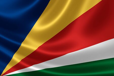 3D rendering of the flag of Seychelles on satin texture.