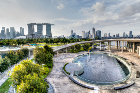 HDR rendering of Singapore's skyline from the Marina Barrage.