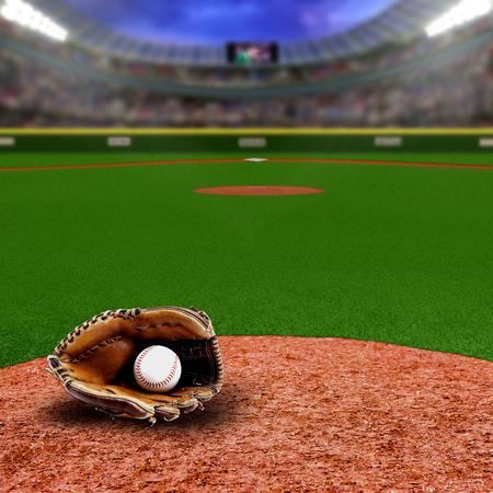 Fictief honkbalstadion vol fans op de tribunes met honkbalhandschoen en bal op infield vuilklei. Opzettelijke focus op apparatuur en voorgrond met ondiepe scherptediepte op achtergrond. Schijnwerpers flare voor effect en kopie ruimte. Stockfoto - 77393315