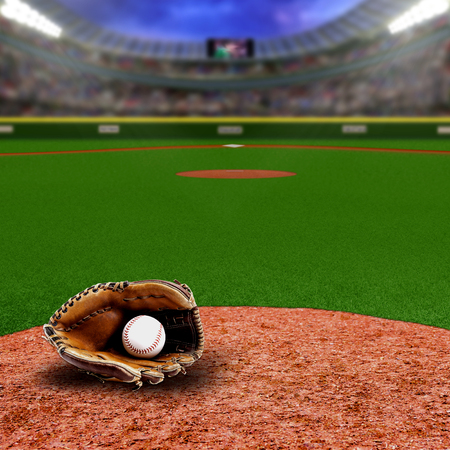 Fictitious baseball stadium full of fans in the stands with baseball glove and ball on infield dirt clay. Deliberate focus on equipment and foreground with shallow depth of field on background. Floodlights flare for effect and copy space.