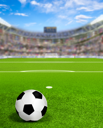 Soccer arena full of fans in the stands with football on field. Deliberate focus on ball and shallow depth of field on background and copy space. 3D rendering.