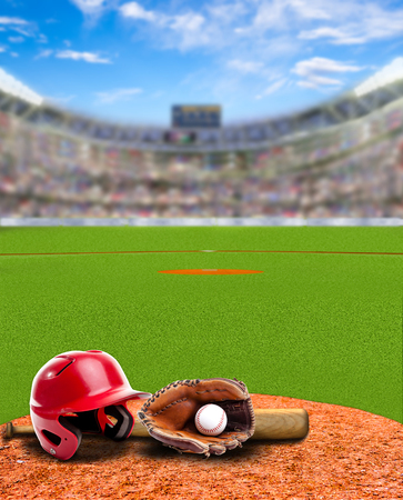 Baseball stadium full of fans in the stands with baseball helmet, bat, glove and ball on infield dirt clay. Deliberate focus on foreground with shallow depth of field on background. Copy space.