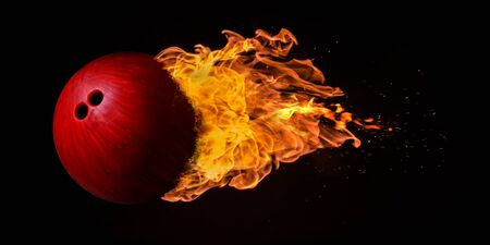 engulfed: Flying bowling ball engulfed in trailing flames with sparks flying on a black background. Concept of a fiery competition or fast moving ball.