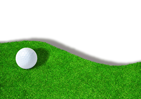 Golf ball on edge of sand trap bunker on white background with copy space. Stock Photo