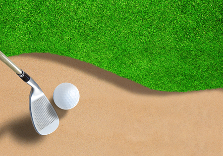 Golf ball on sand trap bunker with wedge club ready to swing it out. Copy space. Stock Photo