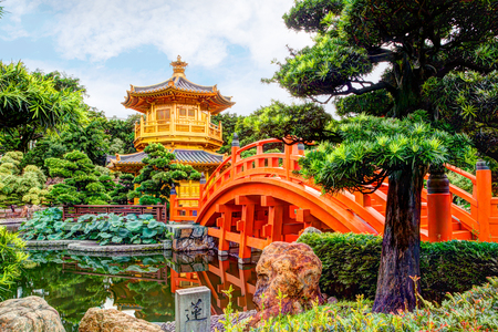 HDR rendering of Nan Lian Garden, a Chinese Classical Garden in Diamond Hill, Hong Kong. The public park has an area of 3.5 hectares and was designed after the Tang Dynasty style of architecture.