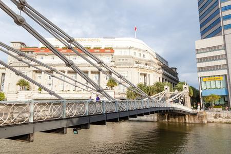 シンガポール - 2017 年 9 月 6 日: シンガポール川カヴェナ橋は最古の橋とシンガポールのみ斜張吊橋の一つ。