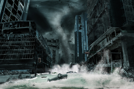 A cinematic portrayal of a city destroyed by a typhoon or hurricane landfall and bringing with it a storm surge. Elements in this cityscape were carefully created, modified and manipulated to resemble a fictitious disaster scene. Stockfoto