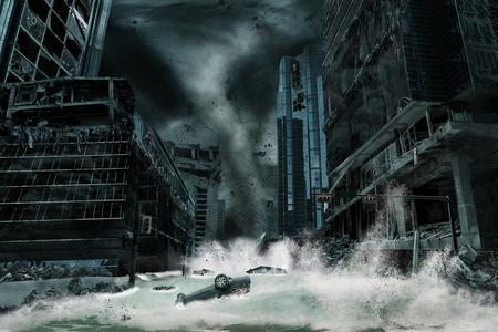 Una representación cinematográfica de una ciudad destruida por un tifón o un huracán que llega a tierra y trae consigo una marea de tormenta. Los elementos de este paisaje urbano fueron cuidadosamente creados, modificados y manipulados para parecerse a una escena de desastre ficticia.