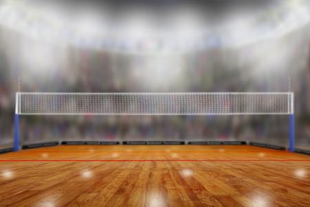 Lage hoekmening van fictieve volleybalarena met sportenventilators in de tribunes en exemplaarruimte. Focus op de voorgrond met opzettelijke ondiepe scherptediepte op de achtergrond.