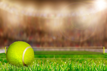 Low angle view of tennis ball on grass court and deliberate shallow depth of field on brightly lit stadium background with copy space. Stock Photo
