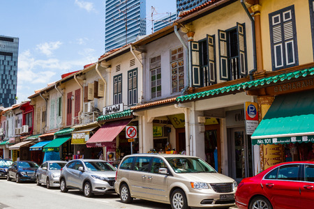 SINGAPORE - SEPTEMBER 7, 2017: Restored shophouses along Arab Street in the muslim enclave of Kampong Glam retain their historic colonial architectural charm.