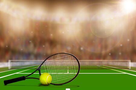 카메라 플래시 및 렌즈 플레어 스탠드에서 관중으로 가득한 테니스 코트의 낮은 각도보기. 복사 공간이 전경에 고의적으로 초점.