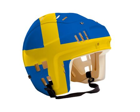 Ice hockey helmet with flag of Sweden painted on it. Isolated on white background. Sweden is one of the worlds major ice hockey nations.
